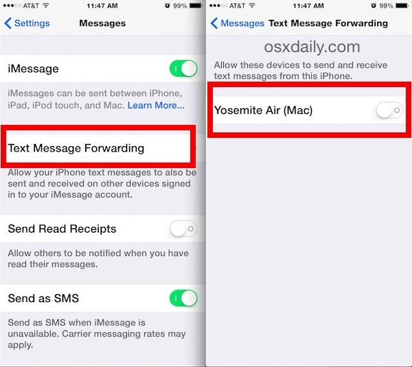 Enable SMS Text Messages on a Mac from iOS - I can now text my