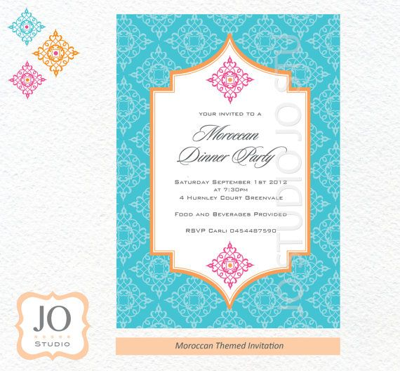 Moroccan Themed Invitation For A Birthday Blue