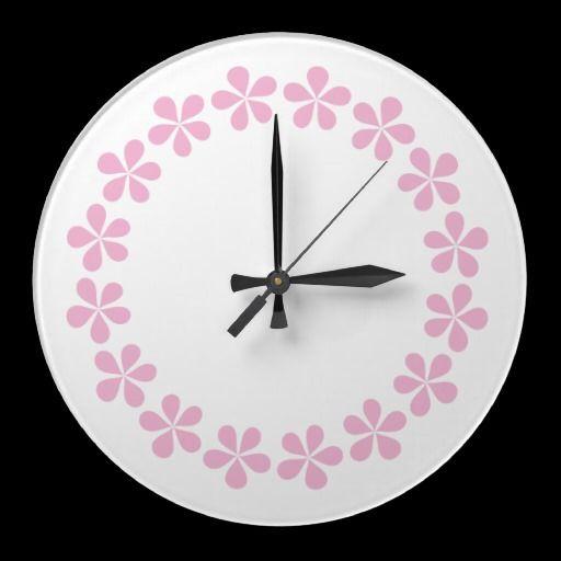 Pink flowers, wall clock, template large clock | Wall clocks, Clocks ...
