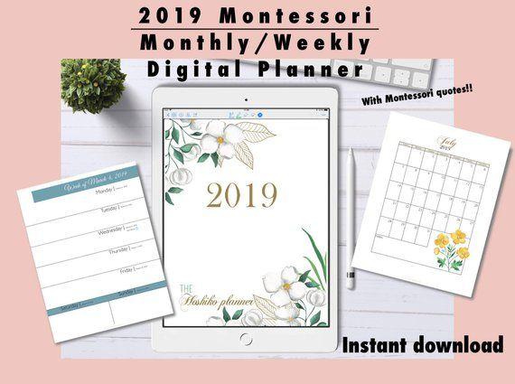 2019 Montessori Monthly Weekly Digital Planner, 2019 Printable