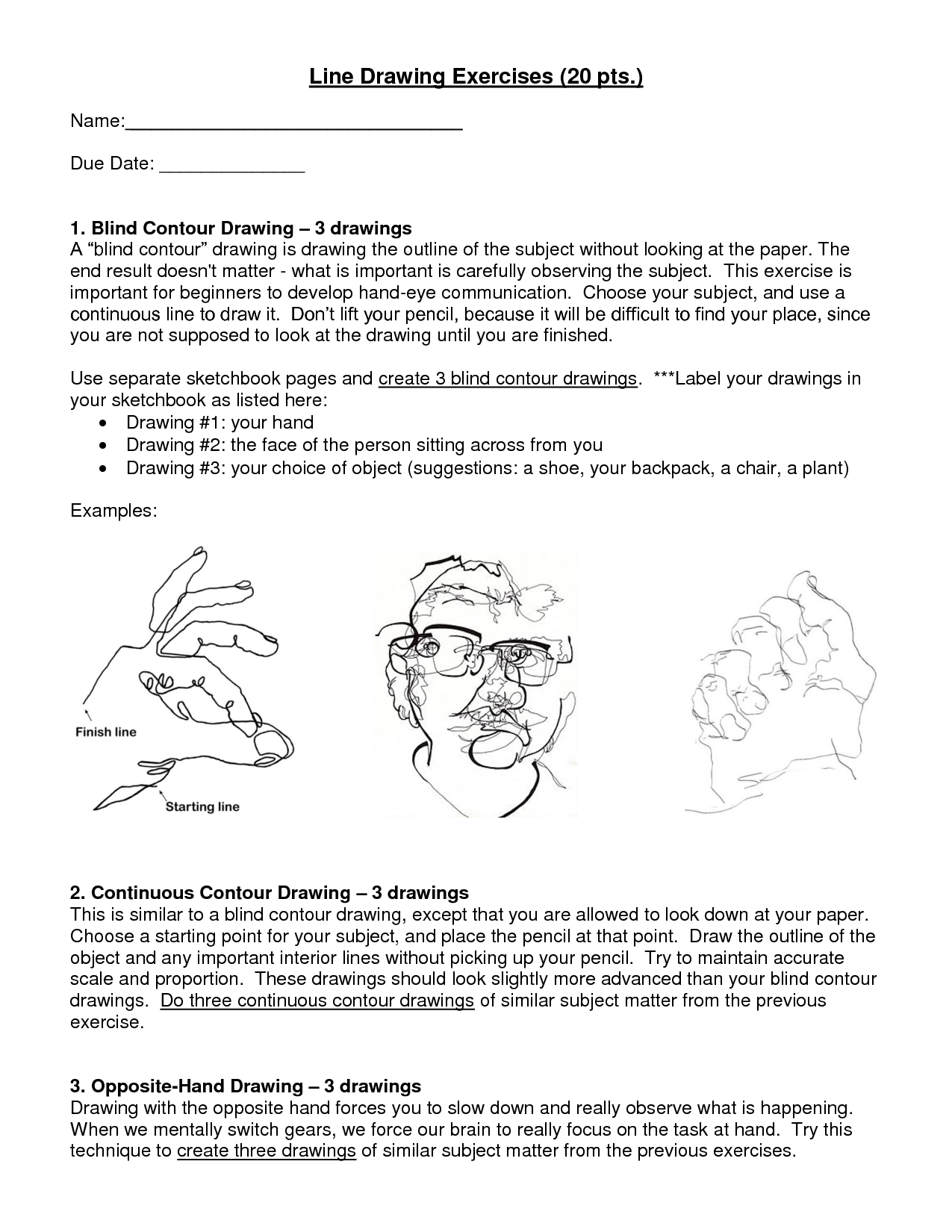 Blind Contour Sheet With Images