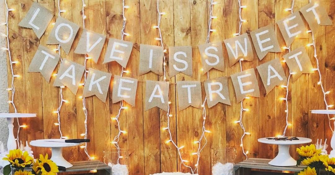 """Creative Celebrations on Instagram: """"It looks soooo pretty with the lights! Ask about our pallet wall for your candy table backdrop!! #lights#burlapbanner #burlap #palletwall…"""""""