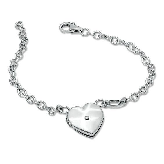 Diamond Accent Heart Lock Bangle