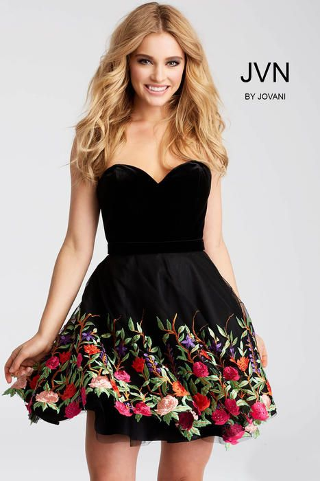 Black Floral Embroidered Strapless Short Dress Jvn54508 At One