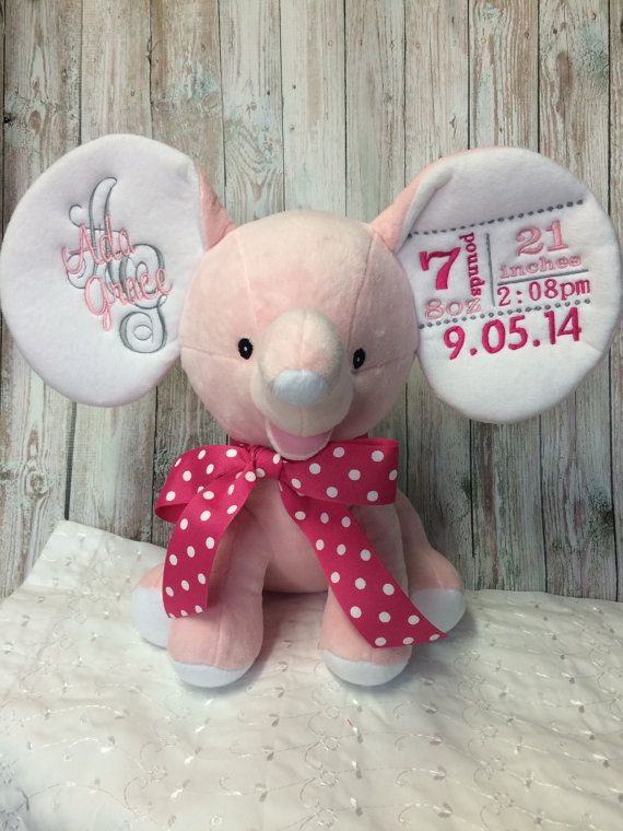 Elephant Cubbies Personalized Embroidered By Sewhappyembroidery
