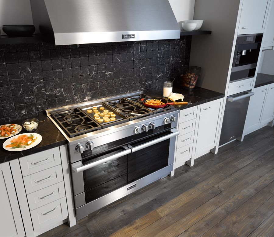 Miele 48 inch stainless steel range with built-in griddle. Miele ...