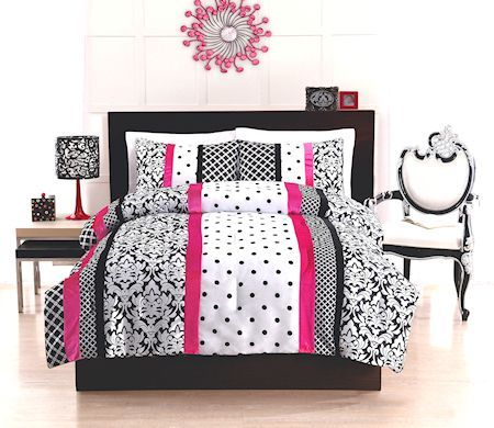 Great Elegant Teen Woman Black White & Scorching Pink Bedding Twin ... : hot pink quilt twin - Adamdwight.com