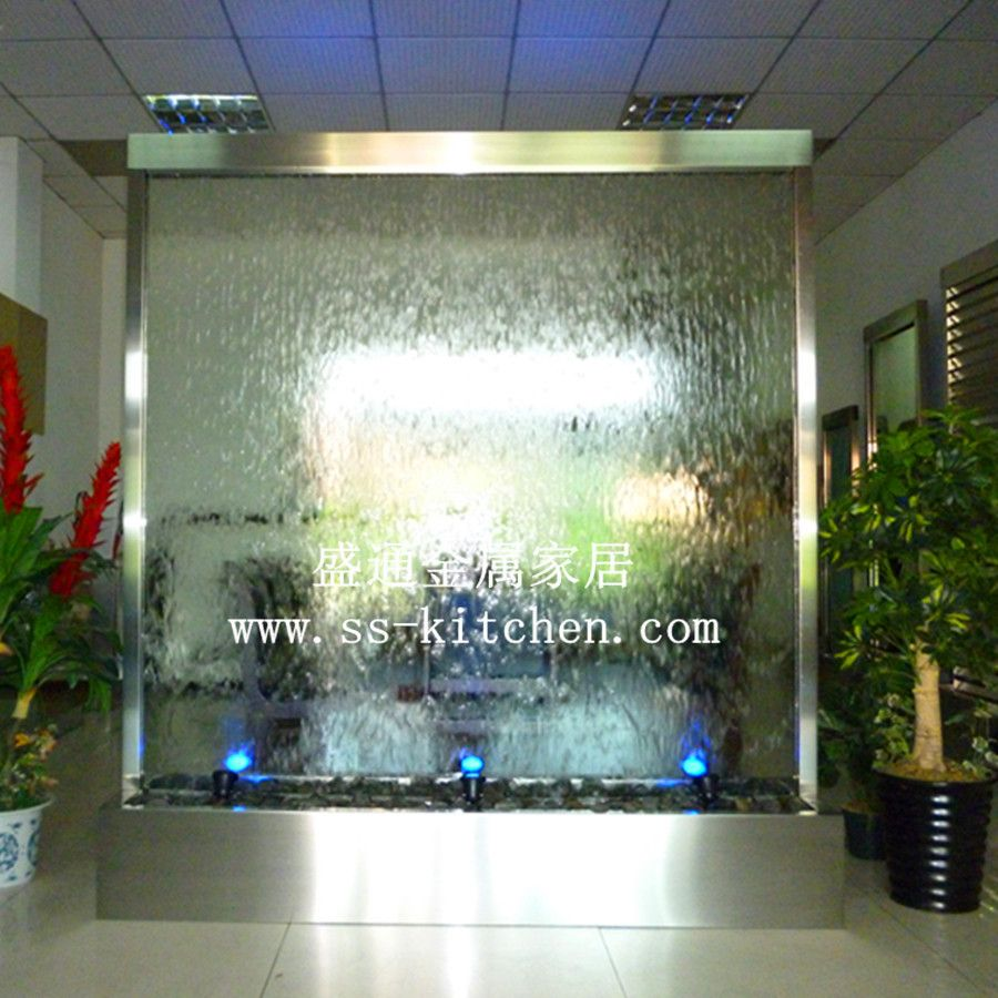 Bathroom water walls steel water fountain waterfall for Indoor water fountain design malaysia