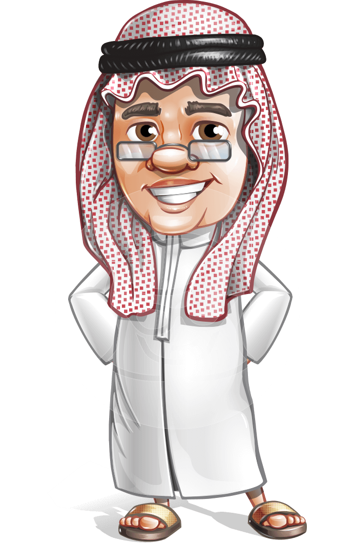 A middle-aged chubby male character of Arab origin ...