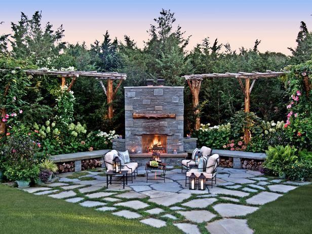 Traditional Landscape Yard With Rustic Garden Arbor Isokern Earthcore Outdoor Fireplace Pathway Trelli Dream Backyard Backyard Patio Designs Bluestone Patio
