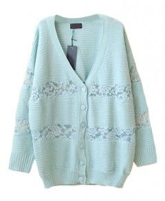 V-neck Cardigan with Lace Panel Insert