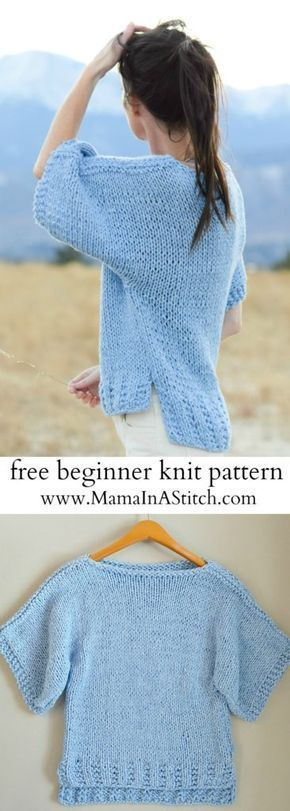 Super easy, free knitting pattern for a cute top from Mama In A ...