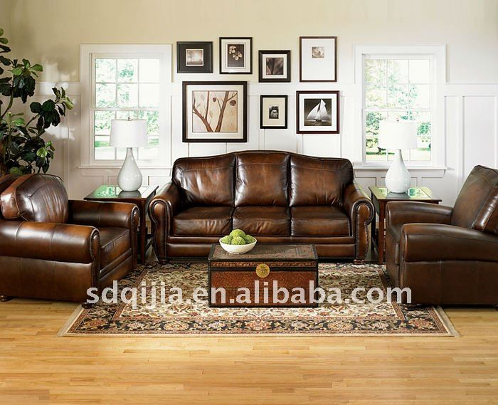 Luxury Leather Living Room Sets Cubes Sofa American Classic Style Furniture Set 699 1999