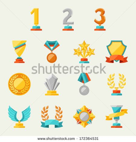 Trophy and awards icons set. - stock vector