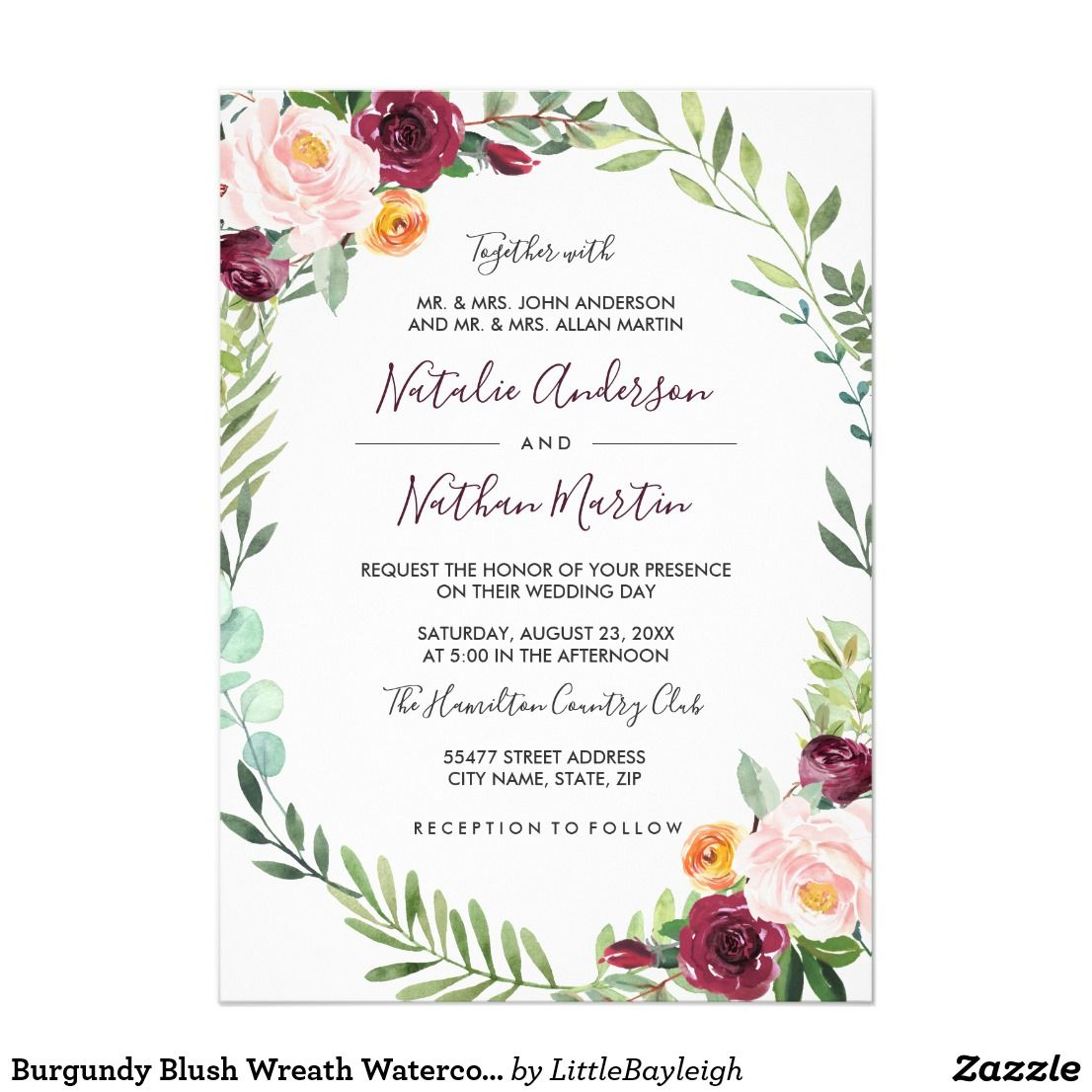 Burgundy Blush Wreath Watercolor Frame Wedding Invitation Zazzle