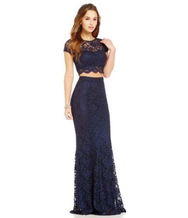 B Darlin Embellished Halter Twopiece Long Dress Dillards