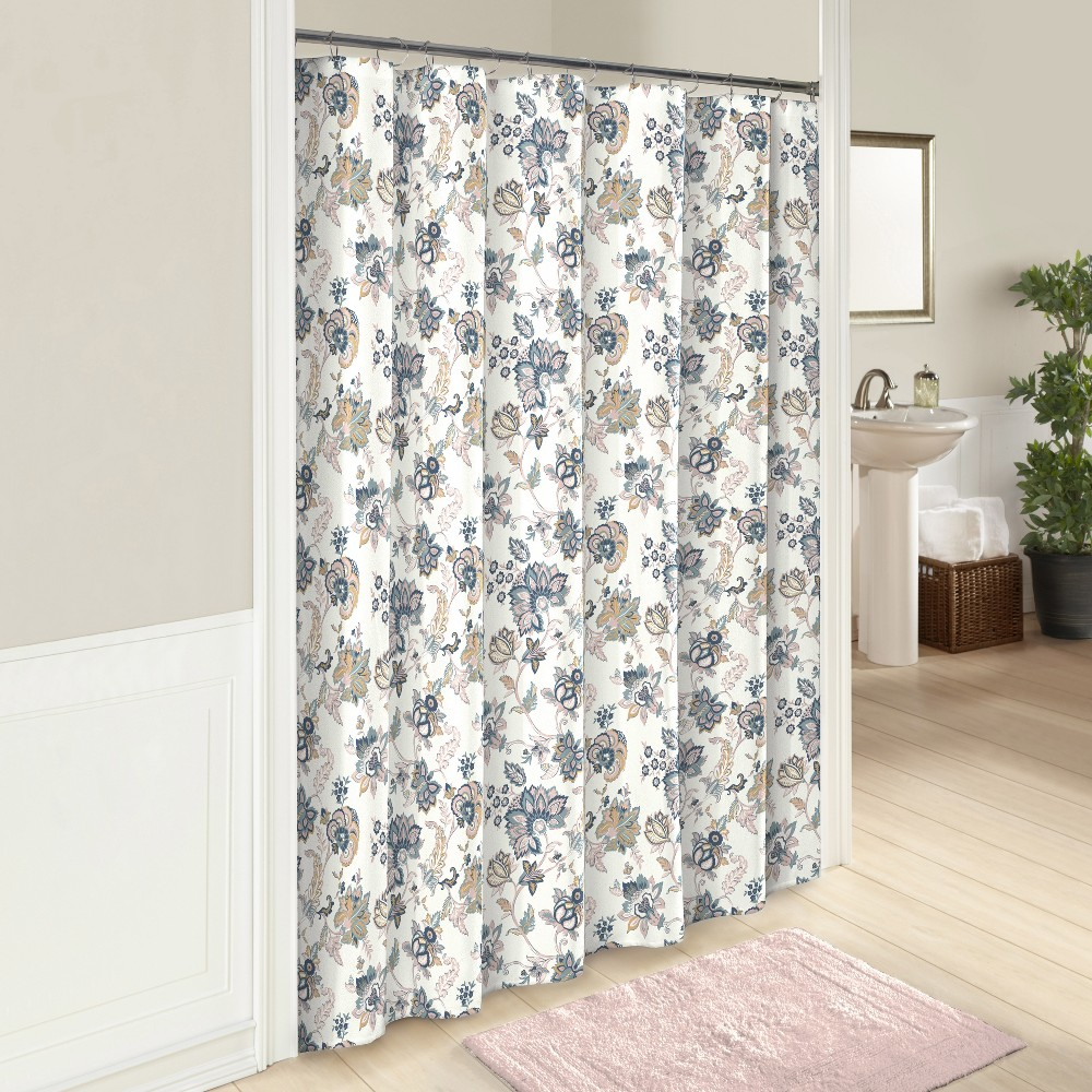 Giselle printed shower curtain multicolored marble hill color