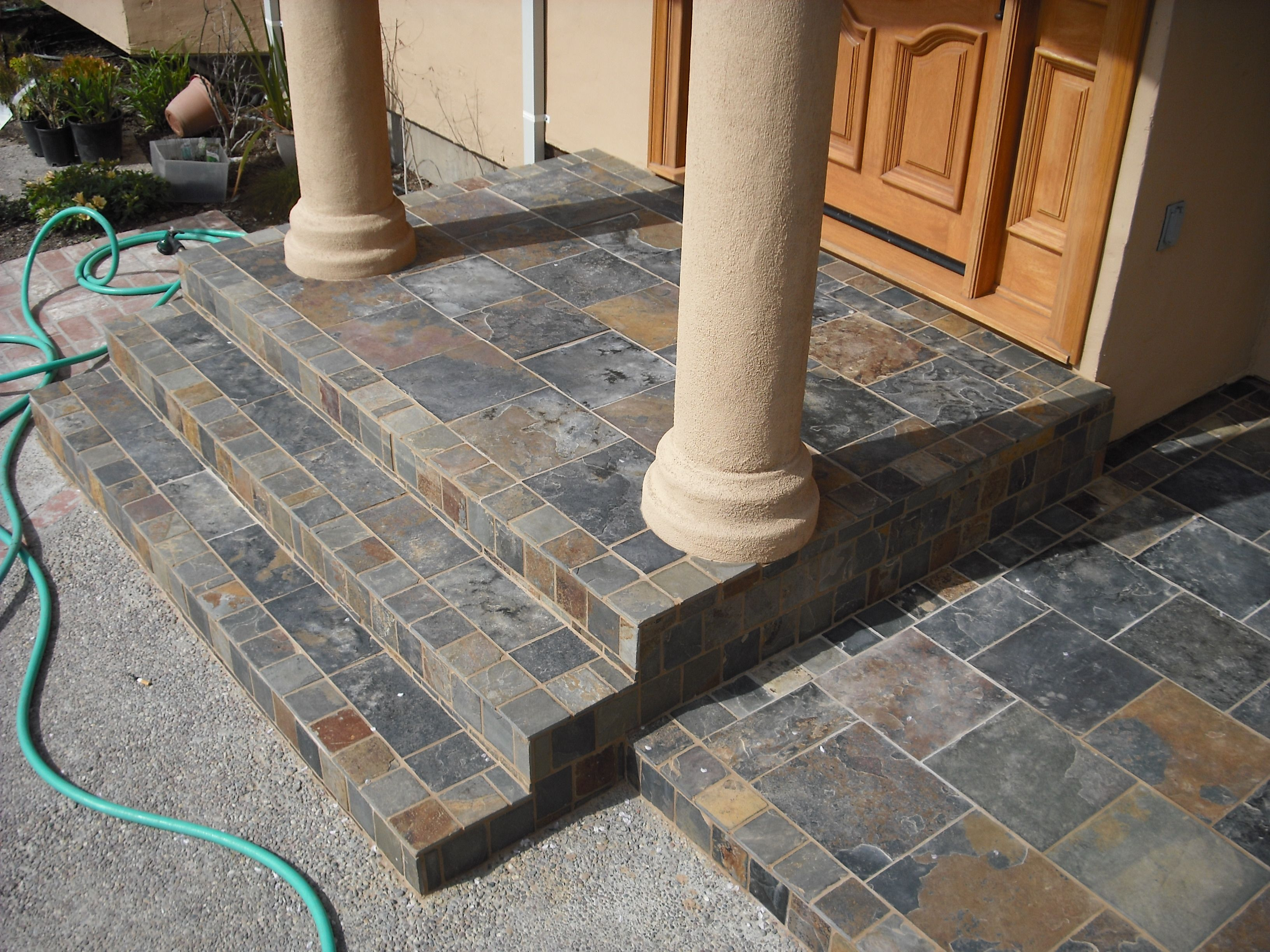 Best Slate Tiled Steps With Porch Front Porch Steps Porch 400 x 300