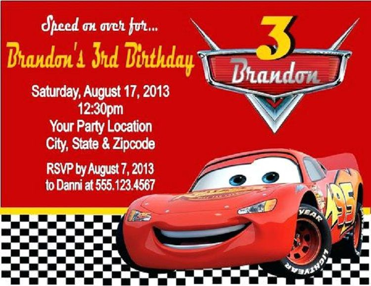 Lightning Mcqueen Personalized Birthday Invitations