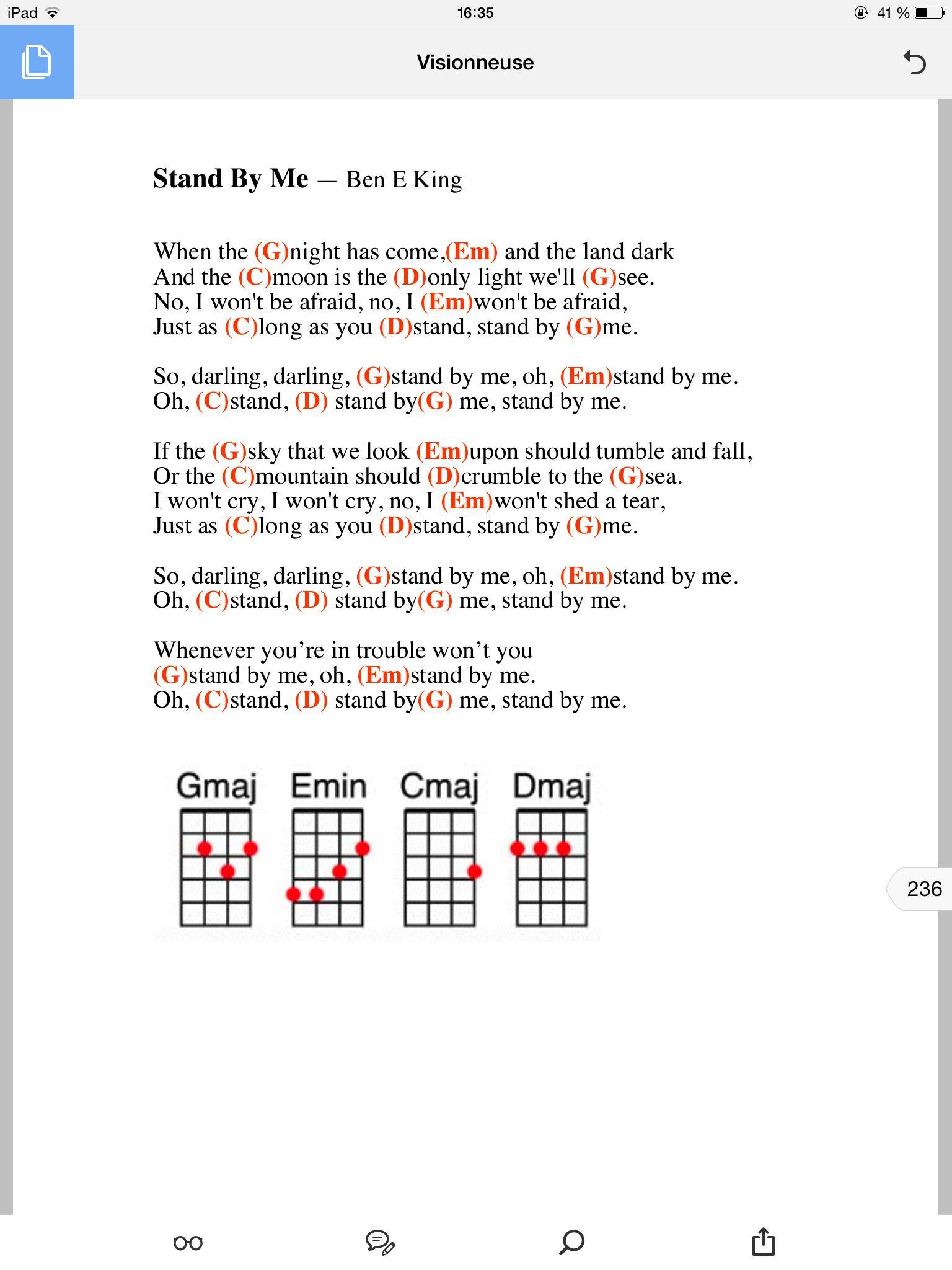 Stand by me   Guitar chords and lyrics, Lyrics and chords, Ukulele ...