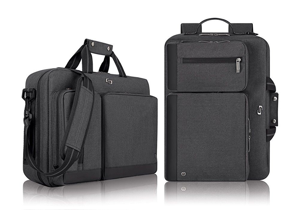 Solo Ubn310 15 6 Inch Laptop Hybrid Briefcase Backpack Grey Laptop Briefcase Briefcase Laptop Bag