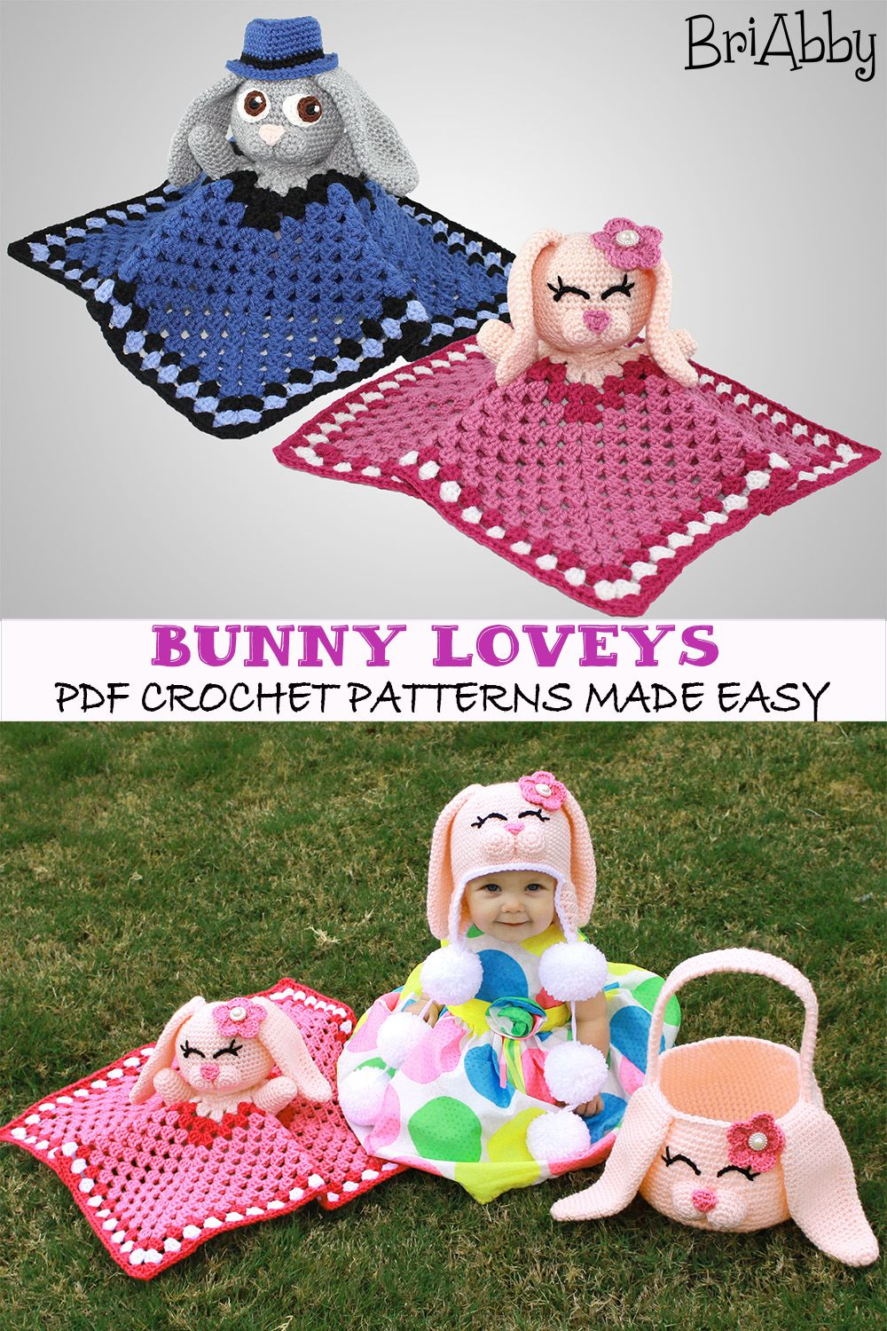 Bunny Lovey Pattern #crochetsecurityblanket