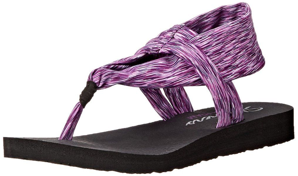 Skechers Cali Women's Meditation Slingback Yoga Flip Flop,Grey,11 M US