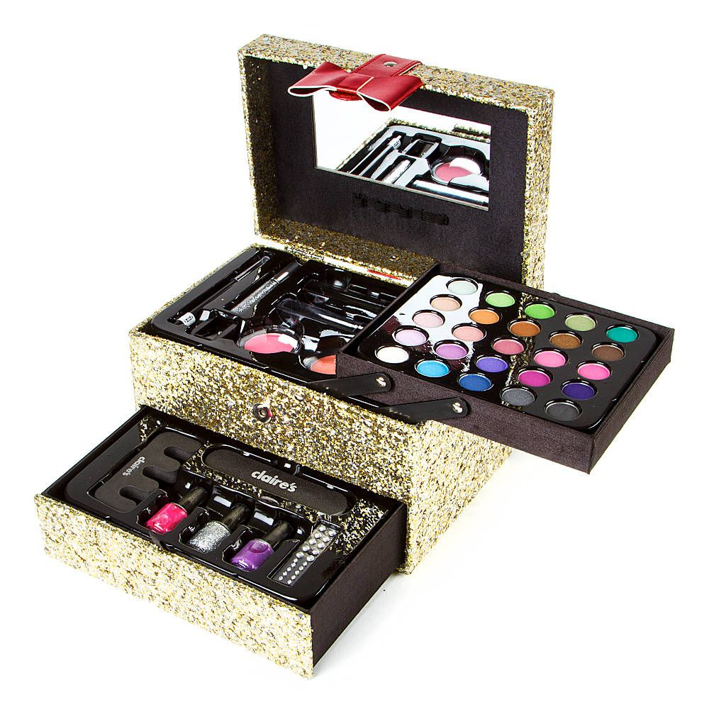 Gold Glitter Carry Case Makeup Set Claire's Makeup set