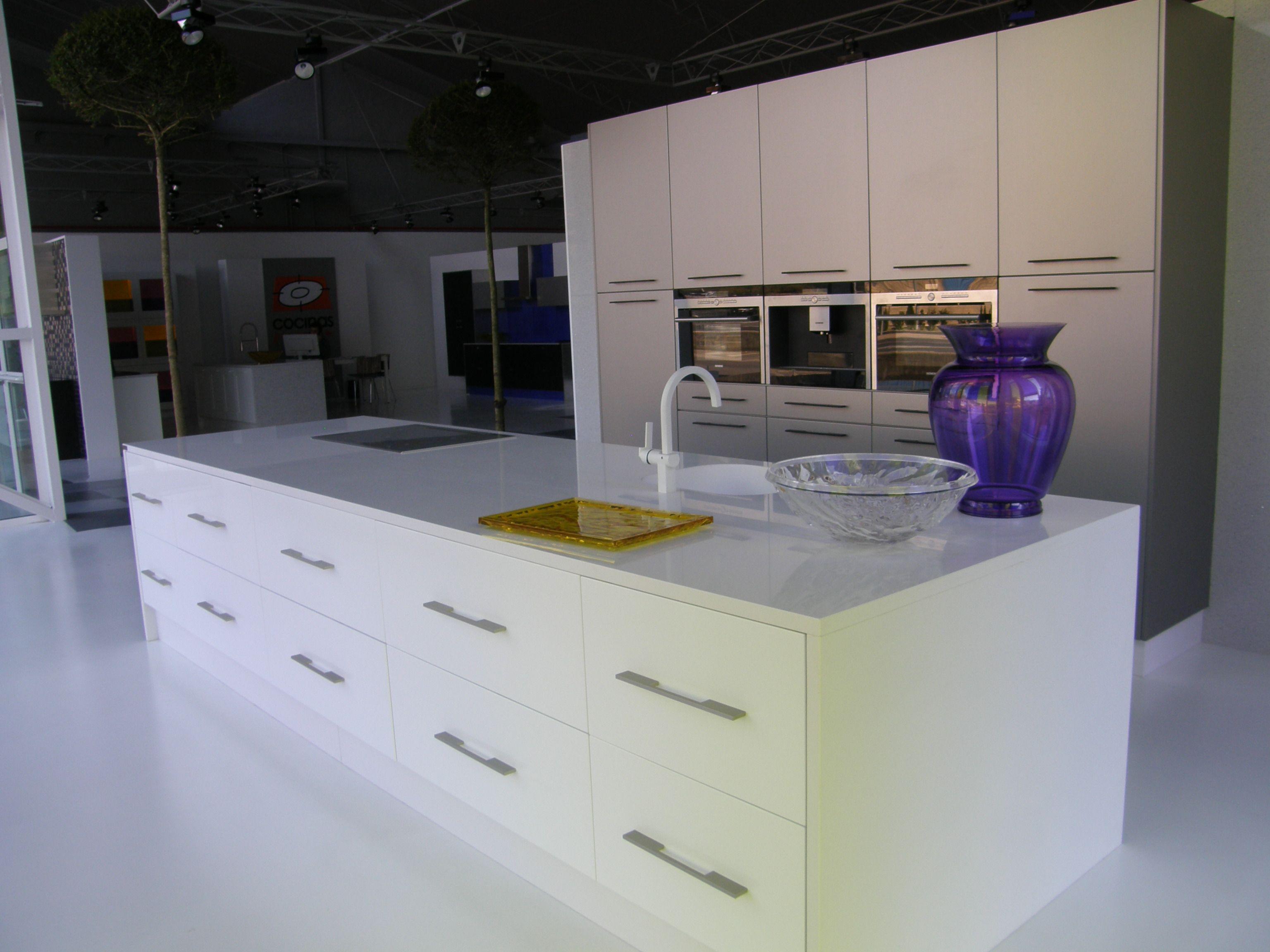 Modelos De Cocina Con Puerta Ibaneta Blanco Brillo Combinada