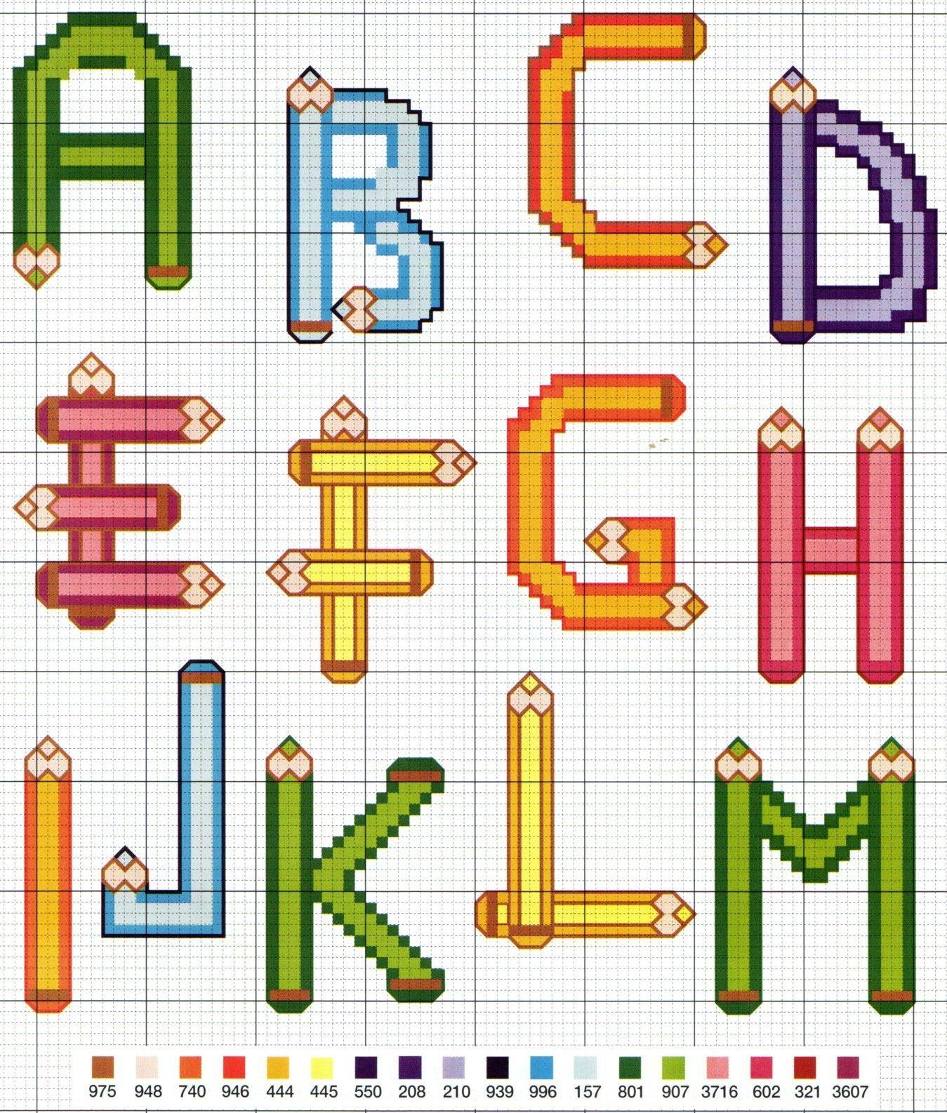 Abecedaire crayons 1 (avec images) | Police point de croix, Alphabet point de croix, Lettre ...