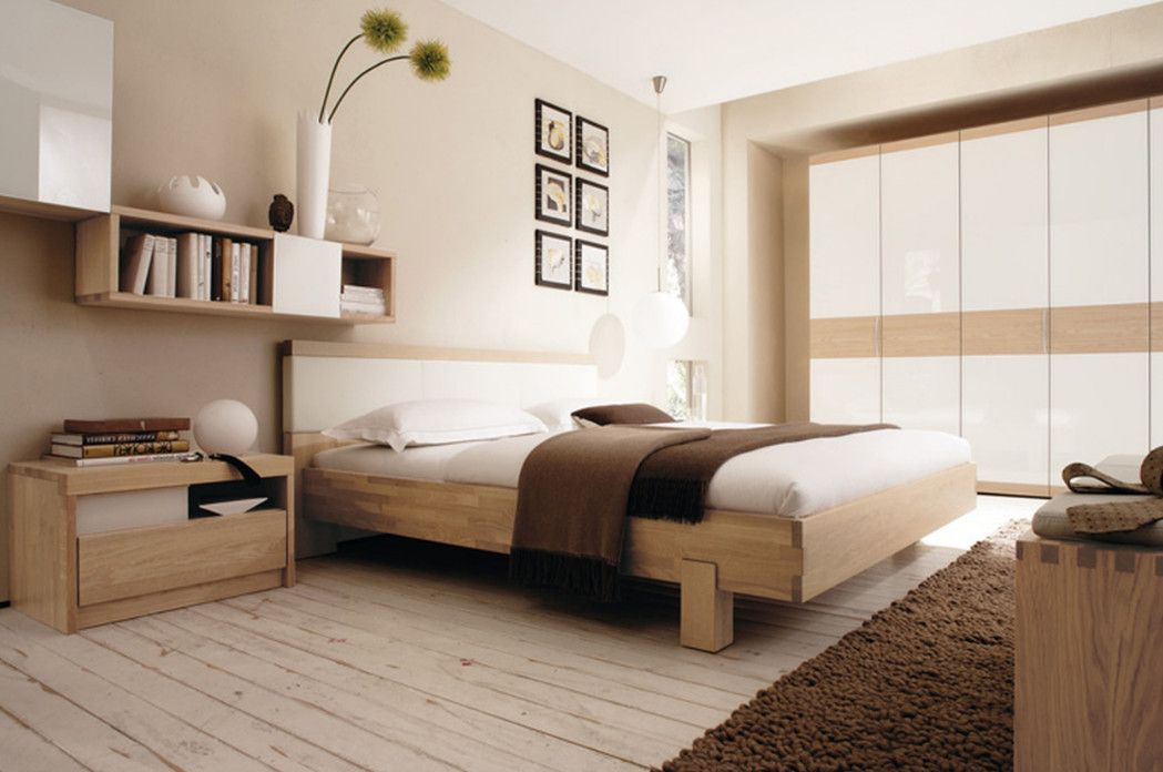 Interior Light Brown And White Bedroom Modern