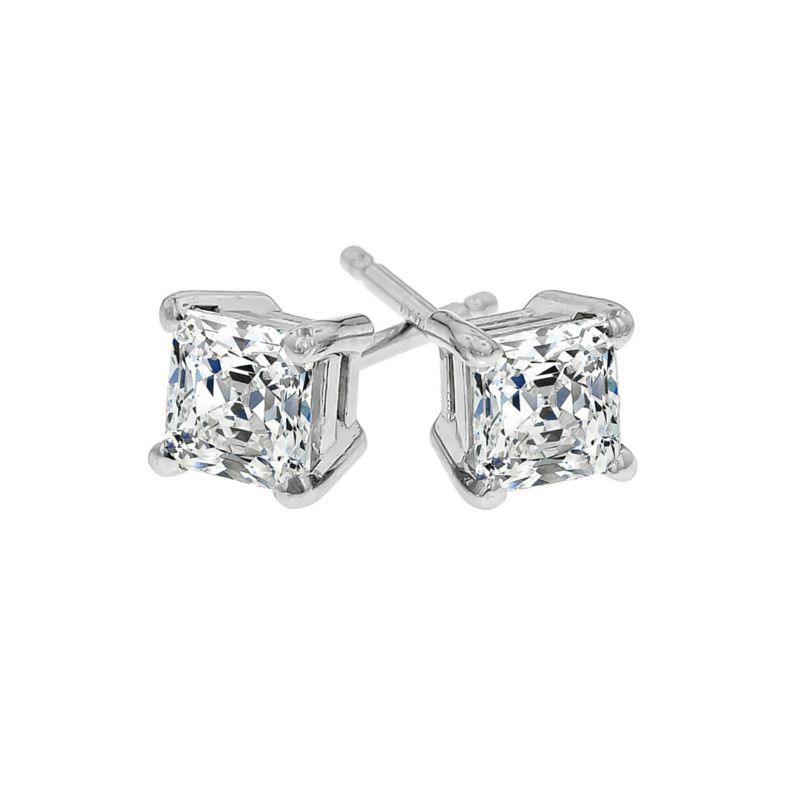Princess Cut 1 3 Ct Tw Diamond Stud Earrings