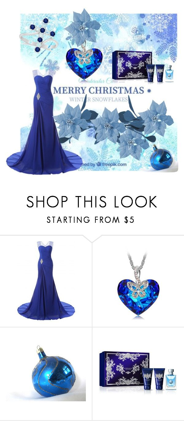 """Blue Christmas 2"" by tinydancer2018 ❤ liked on Polyvore featuring Versace and Allurez"