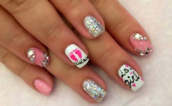 Nail Art Painting With Polish Pink Its A Baby Girl Could