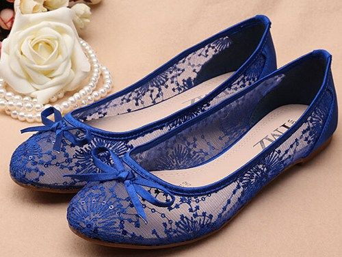 Superb Blue See Through Lace Flats Shoes,Lace Bridal Flats,Wedding Flats