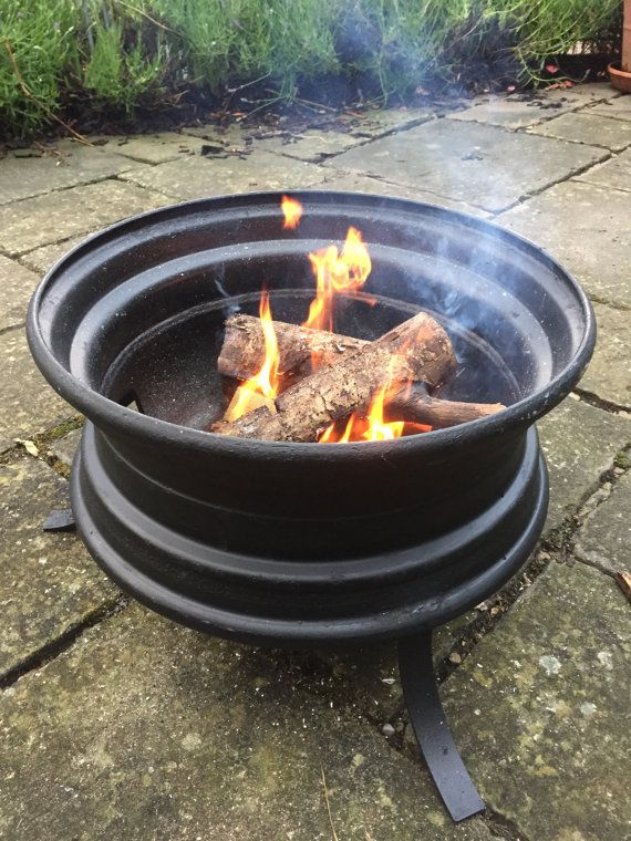 Upcycled Lorry Wheel Patio Heater Fire Pit Bbq
