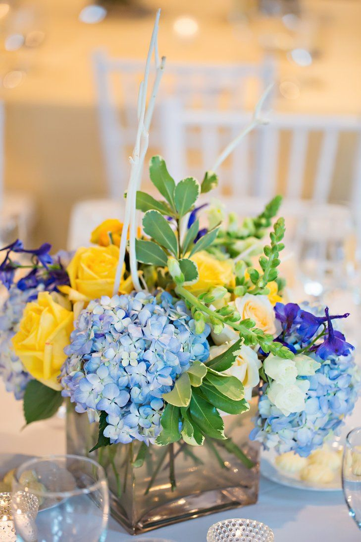 blue and yellow floral centerpieces in 2019   yellow wedding