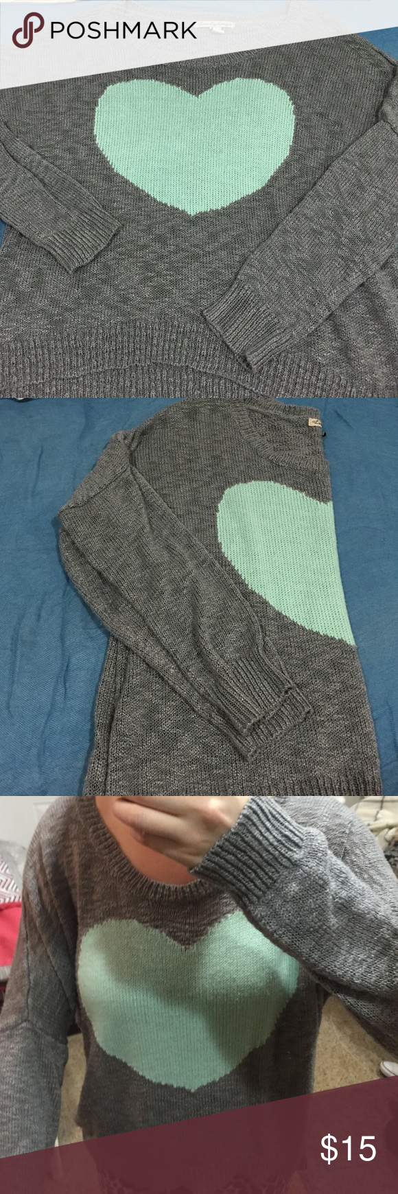 Heart sweater Gray and teal heart sweater. Love by Design Sweaters Crew & Scoop Necks