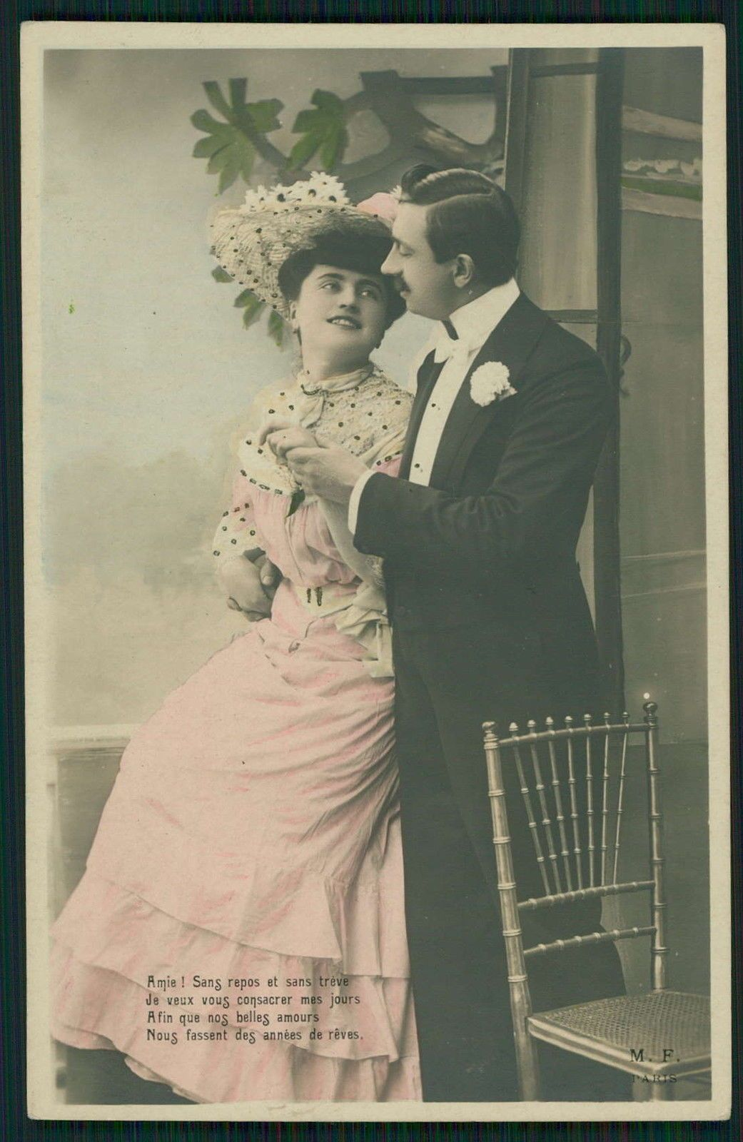 Real Photo:Edwardian Lady Love Romance Couple flirt