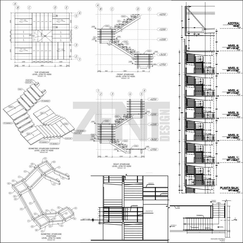 Zent design 2d escaleras de metalicas planos gradas y for Escalas metalicas
