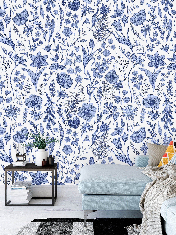 Beautiful Blue Floral Pattern Floral Wallpaper Murals Floral Murals Living Room Interior Decor Shop Wallpaper Custom Wallpaper Wallpaper