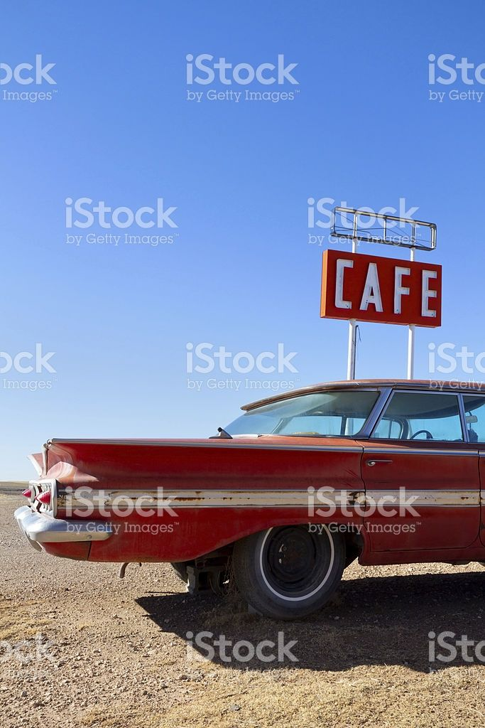 Cafe Sign and Old Car on Route 66 royalty-free stock photo | Retro ...