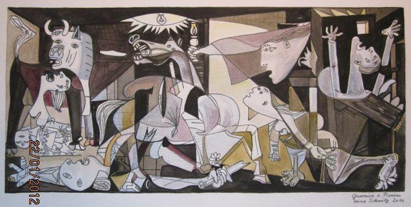 Gernica (n. Picasso) Gouache 48x36 cm, Unikat, gemalt und signiert von Heinz Schmitz