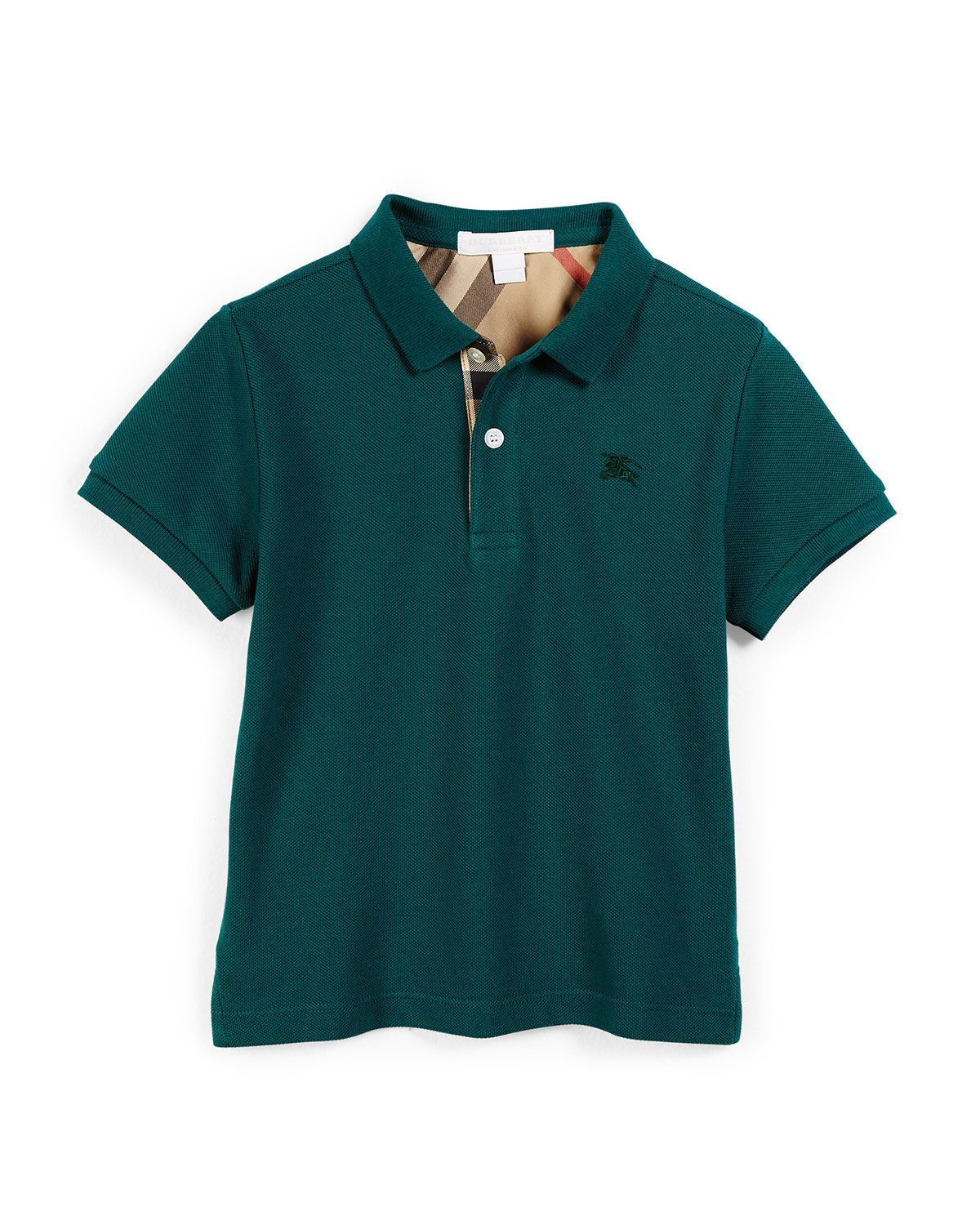 Short-Sleeve Cotton Polo Shirt, Mineral Green, Size 4-14, Size: 8 - Burberry