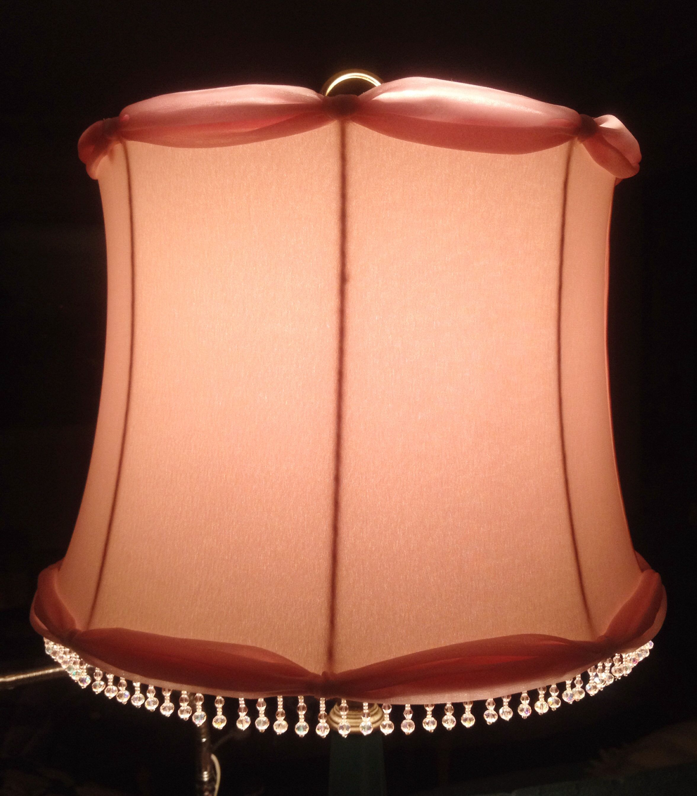 A Recreation Of A Mid 1930 S Table Lamp Shade Two Layers Of Pink Chiffon Over Top An Oyster Satin Outer Lining With A White Inner Lining The Shade Is Trimmed