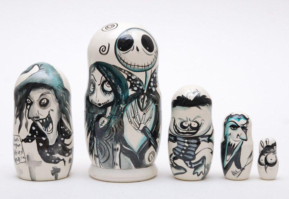 The Nightmare Before Christmas Tim Burton Disney Matryoshka Hand Painted 5pcs #