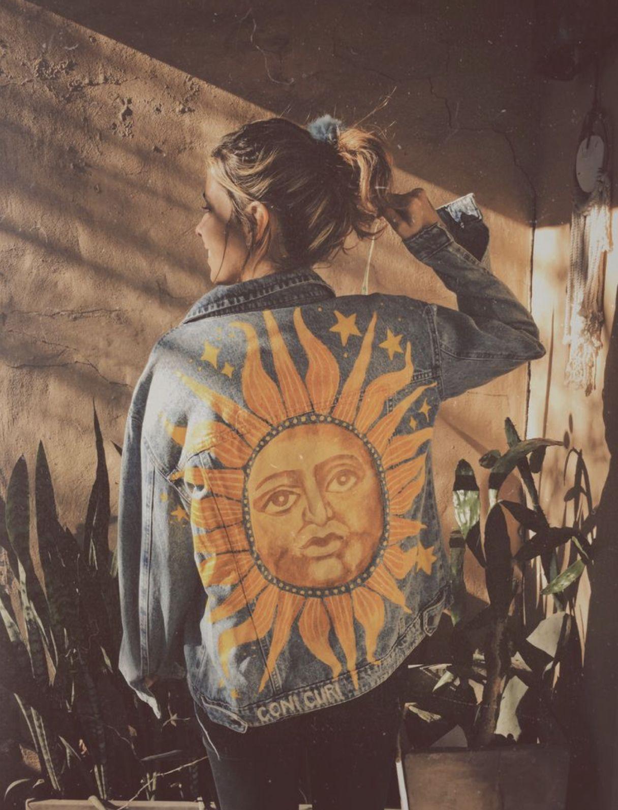 90s inspired sun patch illustration design inspiration for custom jean jacket design idea #jeanjacketoutfits