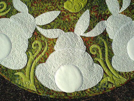 Honey Bunny Pdf Quilt Pattern Applique Quilt Rabbits Etsy Bunny Quilt Applique Quilts Spring Quilts