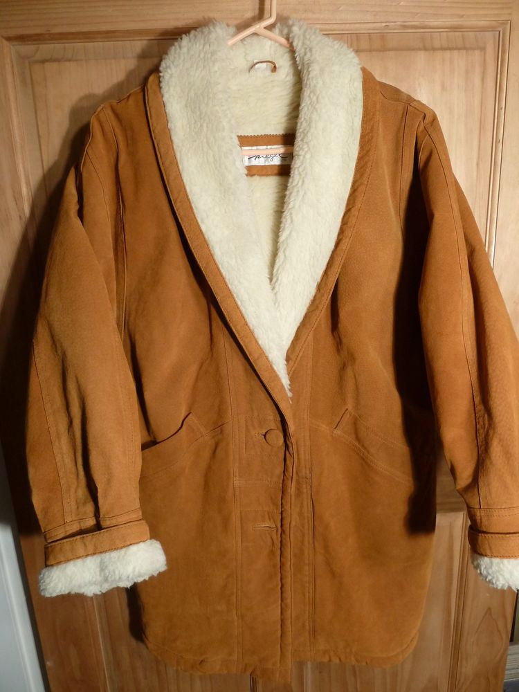 Warm Brown Leather & Faux Wool Lined Longer Winter Coat by Spiegel Size M EUC #Spiegel #Parka