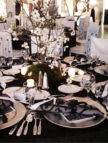 feel beautiful- whbm Black and white place settings. New Year's Gala.